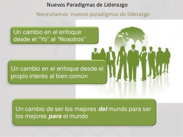 """Nuevos Paradigmas de Liderazgo Necesitamos nuevos paradigmas de liderazgo Un cambio en el enfoque desde el """"Yo"""" al """"Nosotr..."""