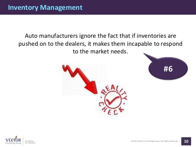 Inventory Management    Auto manufacturers ignore the fact that if inventories are  pushed on to the dealers, it makes the...