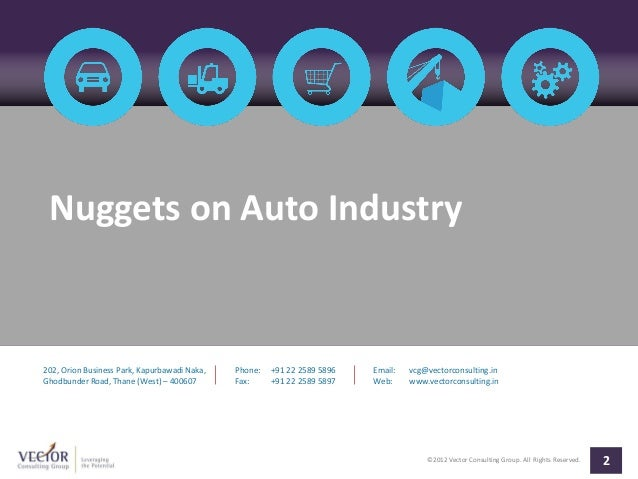 Nuggets on Auto Industry202, Orion Business Park, Kapurbawadi Naka,   Phone:   +91 22 2589 5896   Email:   vcg@vectorconsu...