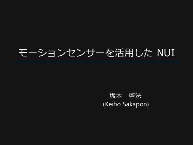 モーションセンサーを活用した NUI 坂本 啓法 (Keiho Sakapon)