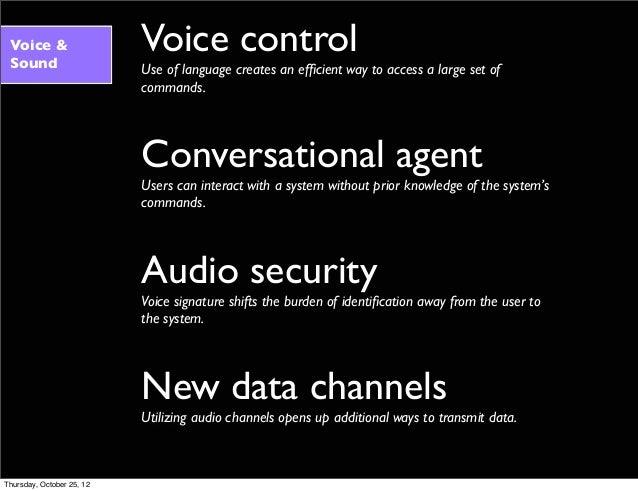 Voice & Sound Voice control Use of language creates an efficient way to access a large set of commands. Conversational agen...