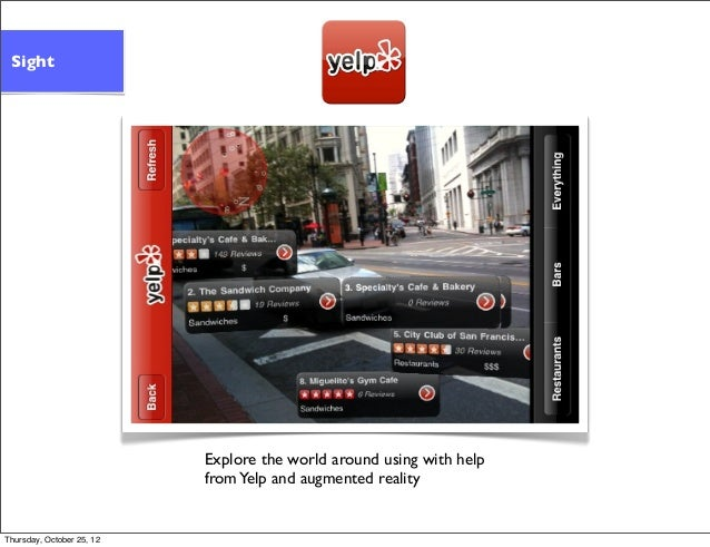Explore the world around using with help fromYelp and augmented reality Sight Thursday, October 25, 12