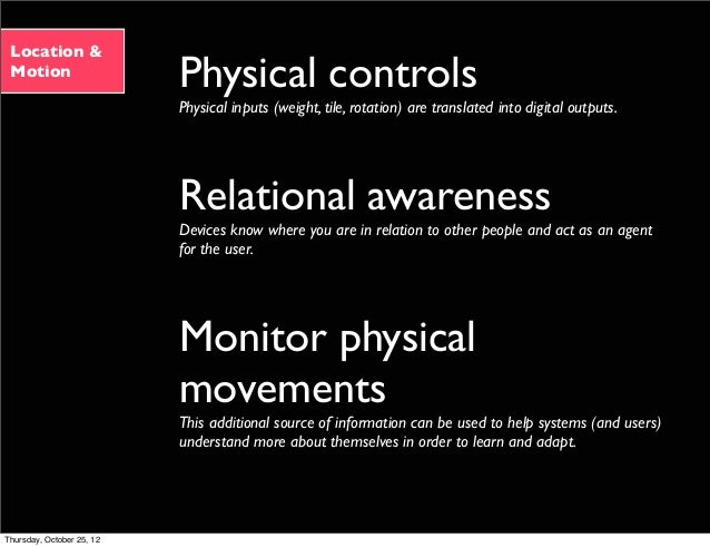 Location & Motion Physical controls Physical inputs (weight, tile, rotation) are translated into digital outputs. Relation...