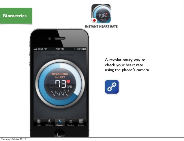 A revolutionary way to check your heart rate using the phone's camera Biometrics Thursday, October 25, 12