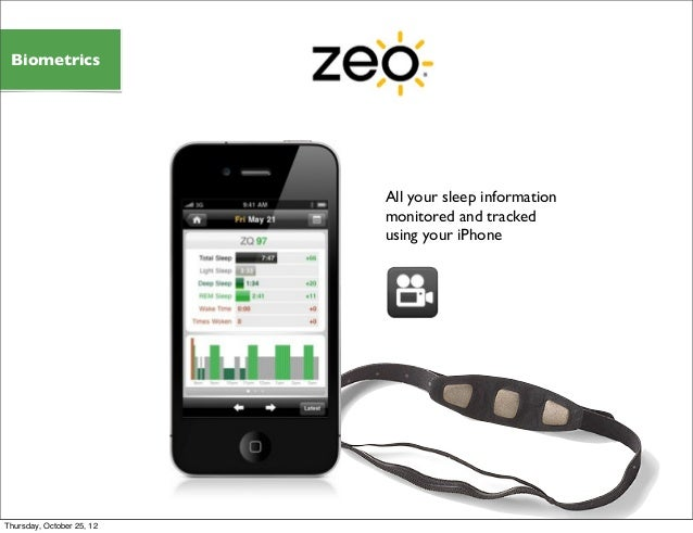 All your sleep information monitored and tracked using your iPhone Biometrics Thursday, October 25, 12