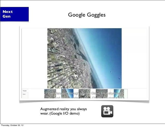 Augmented reality you always wear. (Google I/O demo) Next Gen Google Goggles Thursday, October 25, 12