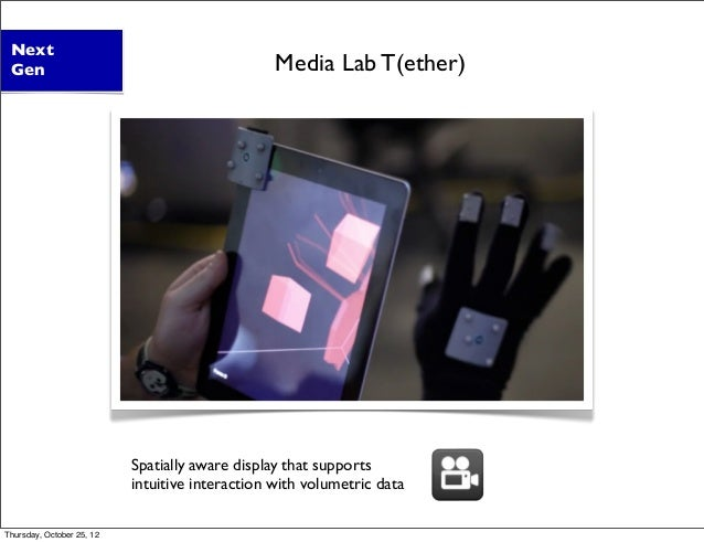 Spatially aware display that supports intuitive interaction with volumetric data Next Gen Media Lab T(ether) Thursday, Oct...