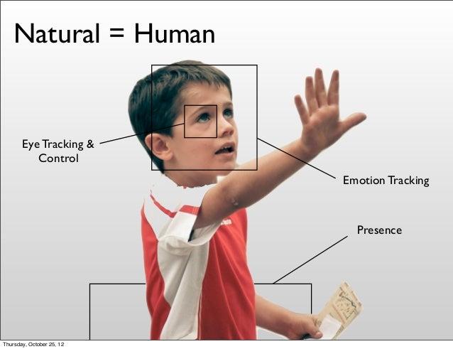 Presence Emotion Tracking Eye Tracking & Control Natural = Human Thursday, October 25, 12