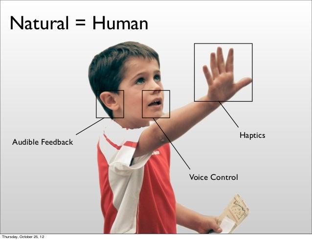 Voice Control Audible Feedback Natural = Human Haptics Thursday, October 25, 12
