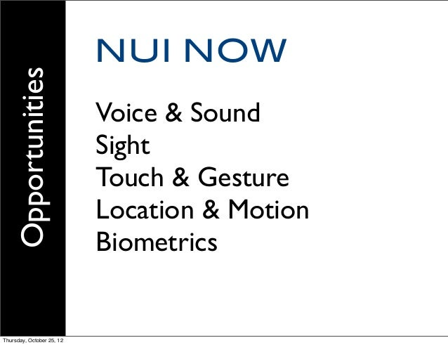NUI NOW Voice & Sound Sight Touch & Gesture Location & Motion Biometrics Opportunities Thursday, October 25, 12