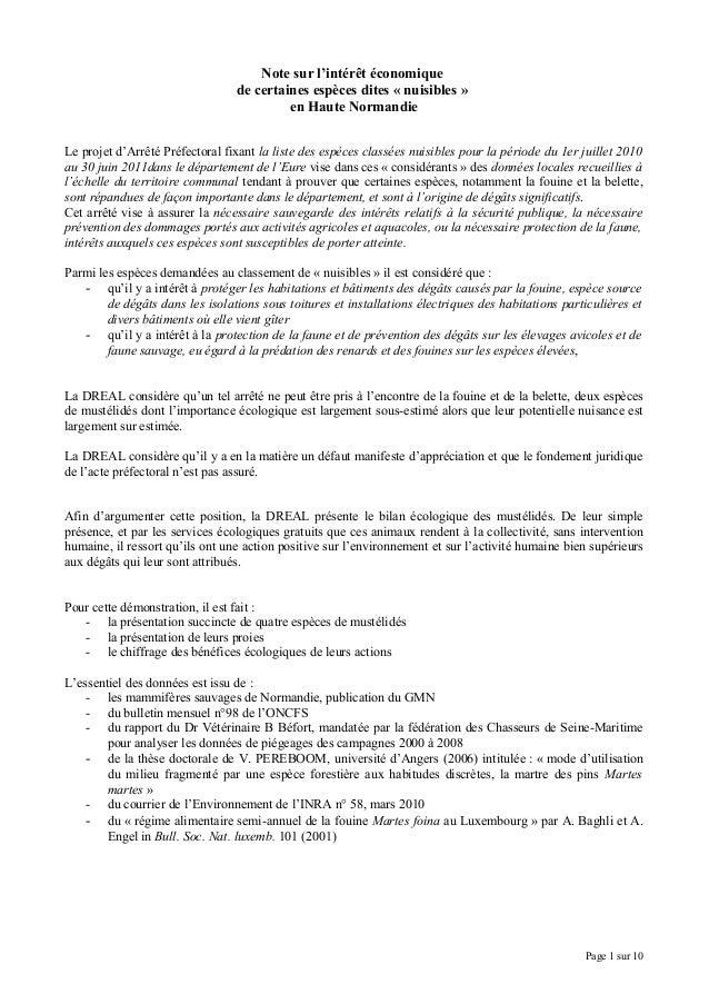 Note sur l'intérêt économique de certaines espèces dites « nuisibles » en Haute Normandie Le projet d'Arrêté Préfectoral f...