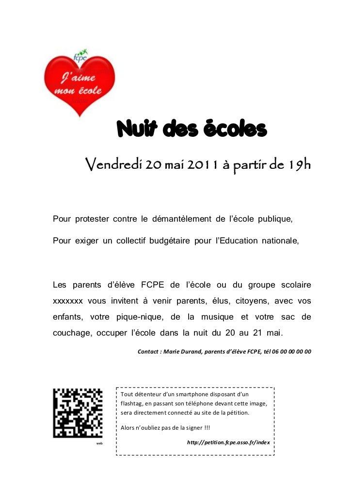 Nuit des écoles            Vendredi 20 mai 2011 à partir de 19h                                                 Pour prot...