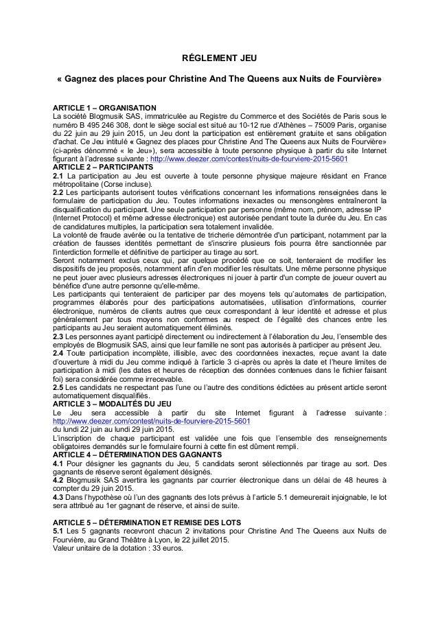RÉGLEMENT JEU « Gagnez des places pour Christine And The Queens aux Nuits de Fourvière» ARTICLE 1 – ORGANISATION La sociét...