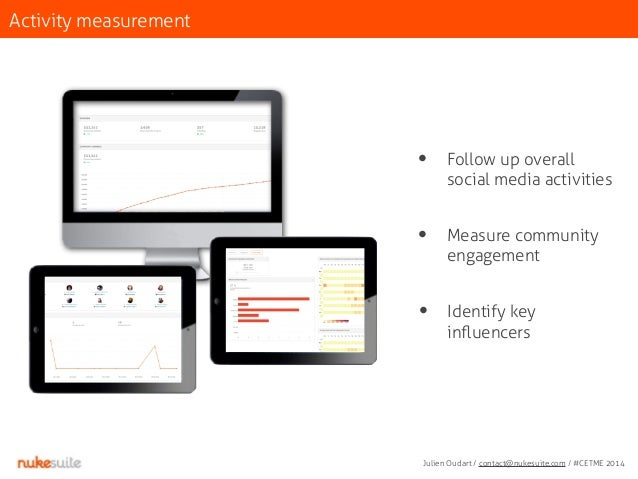 Activity measurement  • Follow up overall  social media activities  • Measure community  engagement  • Identify key  influ...