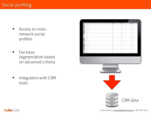 Social profiling  • Access to cross-network  social  profiles  • Fan base  segmentation based  on advanced criteria  • Int...