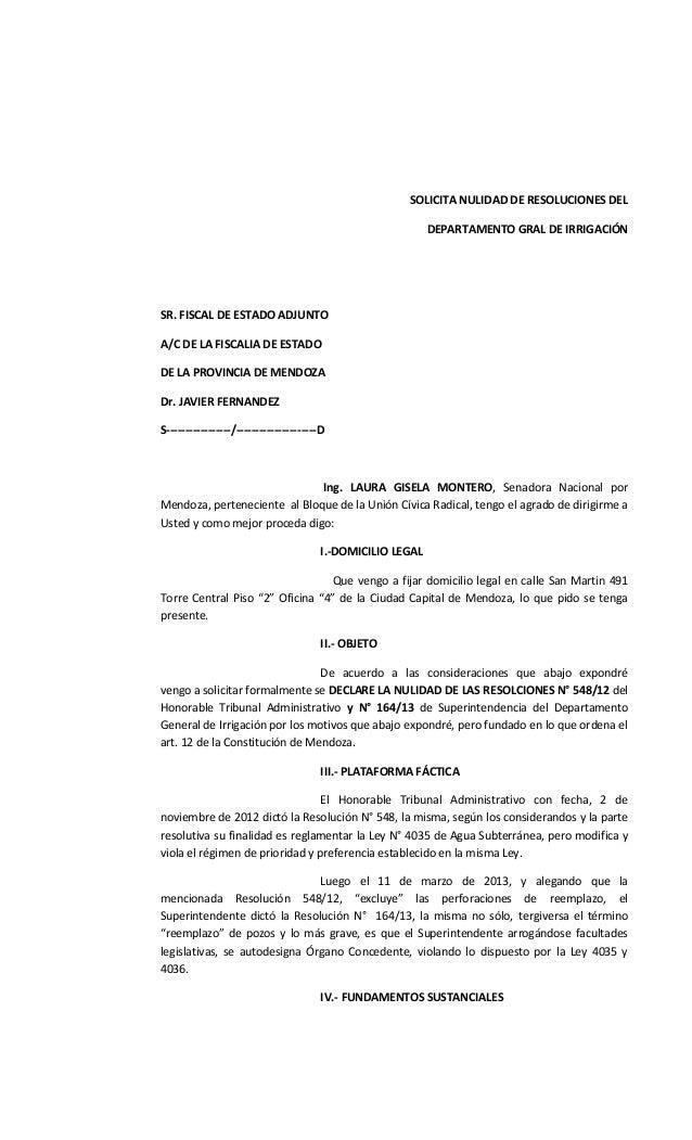 SOLICITA NULIDAD DE RESOLUCIONES DEL DEPARTAMENTO GRAL DE IRRIGACIÓN SR. FISCAL DE ESTADO ADJUNTO A/C DE LA FISCALIA DE ES...