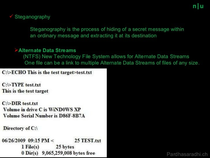 n u Steganography is the process of hiding of a secret message within an ordinary message and extracting it at its destina...
