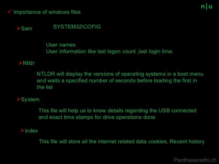 n u <ul><li>Importance of windows files </li></ul>Pardhasaradhi.ch <ul><li>Sam </li></ul>SYSTEM32COFIG User names User inf...