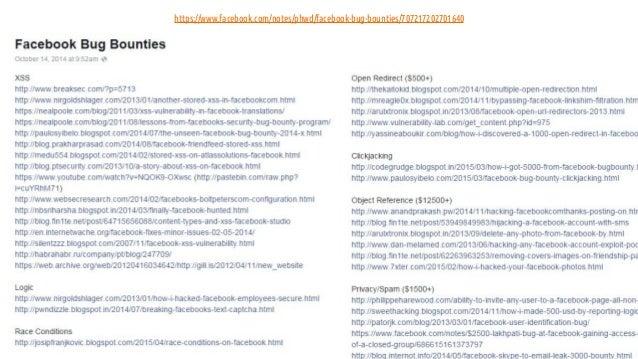 19 https://www.facebook.com/notes/phwd/facebook-bug-bounties/707217202701640