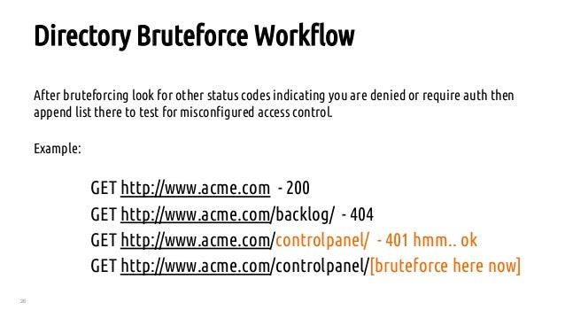 26 Directory Bruteforce Workflow After bruteforcing look for other status codes indicating you are denied or require auth ...