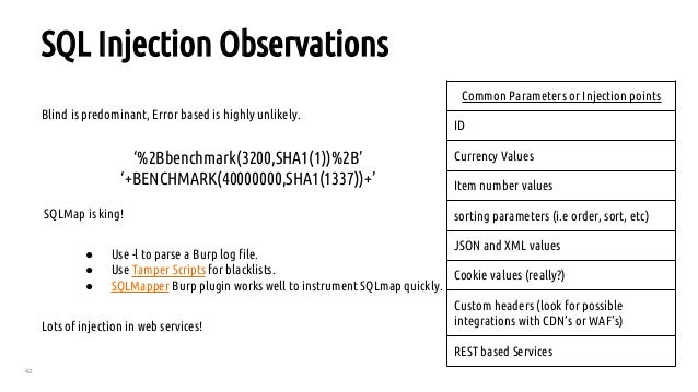 42 SQL Injection Observations Blind is predominant, Error based is highly unlikely. '%2Bbenchmark(3200,SHA1(1))%2B' '+BENC...