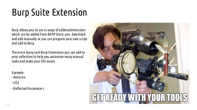 43 Burp Suite Extension Burp allows you to use a range of addons/extensions which can be added from BAPP Store, you downlo...