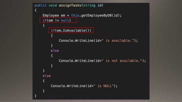 Null Object Pattern change the culture which check if it's valid all the time. If this object should be fail, it do nothin...