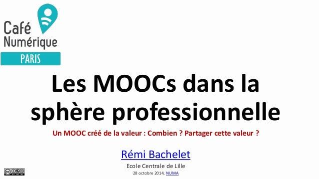 Les MOOCs dans la sphère professionnelle Un MOOC créé de la valeur : Combien ? Partager cette valeur ? Rémi Bachelet Ecole...