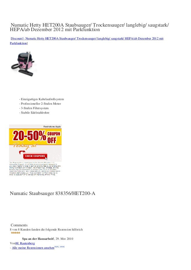 Numatic Hetty HET200A Staubsauger/ Trockensauger/ langlebig/ saugstark/HEPA/ab Dezember 2012 mit ParkfunktionDiscount!- Nu...