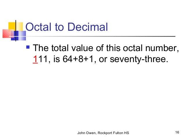 16. John Owen, Rockport Fulton HS 16 Octal to Decimal ...