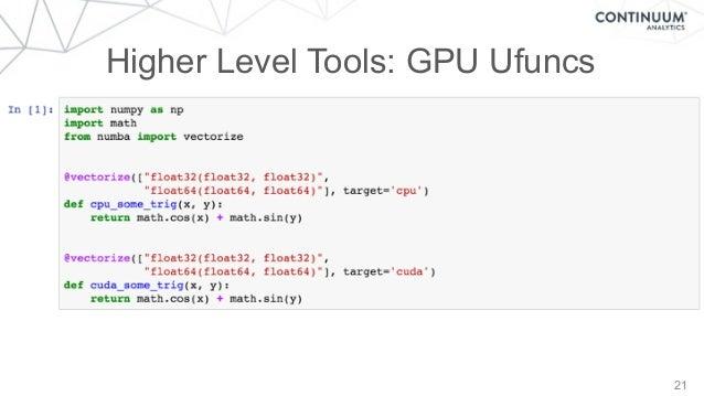 21 Higher Level Tools: GPU Ufuncs