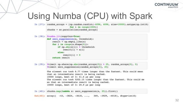 32 Using Numba (CPU) with Spark
