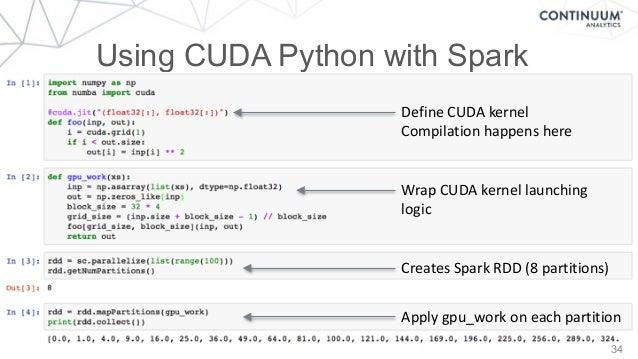 34 Using CUDA Python with Spark DefineCUDAkernel Compilationhappenshere WrapCUDAkernellaunching logic CreatesSpa...