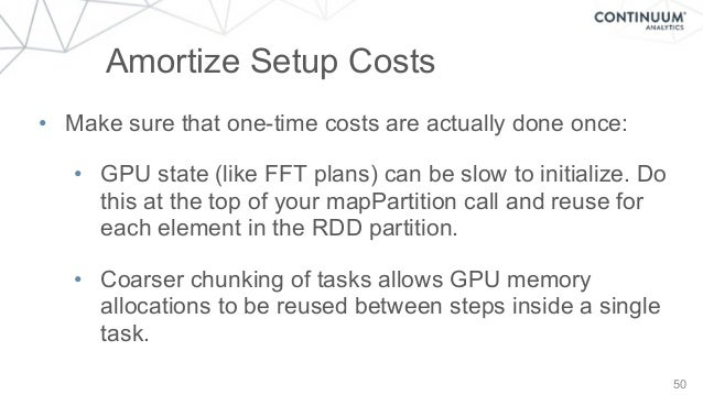 50 Amortize Setup Costs • Make sure that one-time costs are actually done once: • GPU state (like FFT plans) can be slow t...