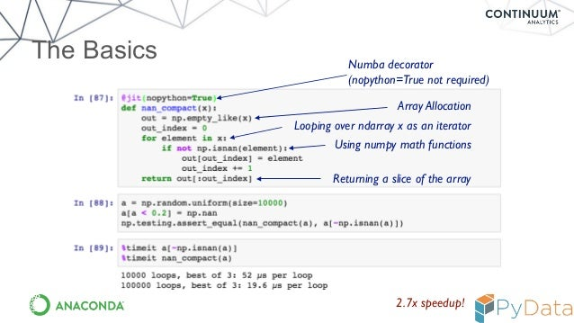 Numba: Flexible analytics written in Python with machine