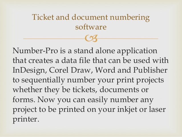 ticket numbering software
