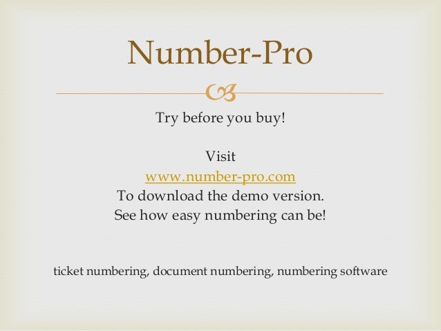 Number Pro ticket numbering
