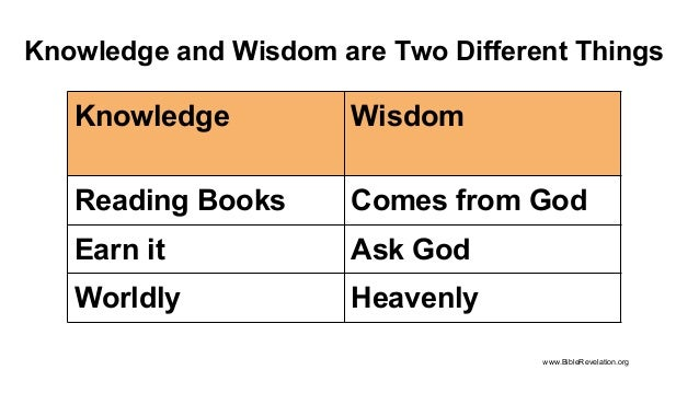 Knowledge and Wisdom are Two Different Things Knowledge Wisdom Reading Books Comes from God Earn it Ask God Worldly Heaven...