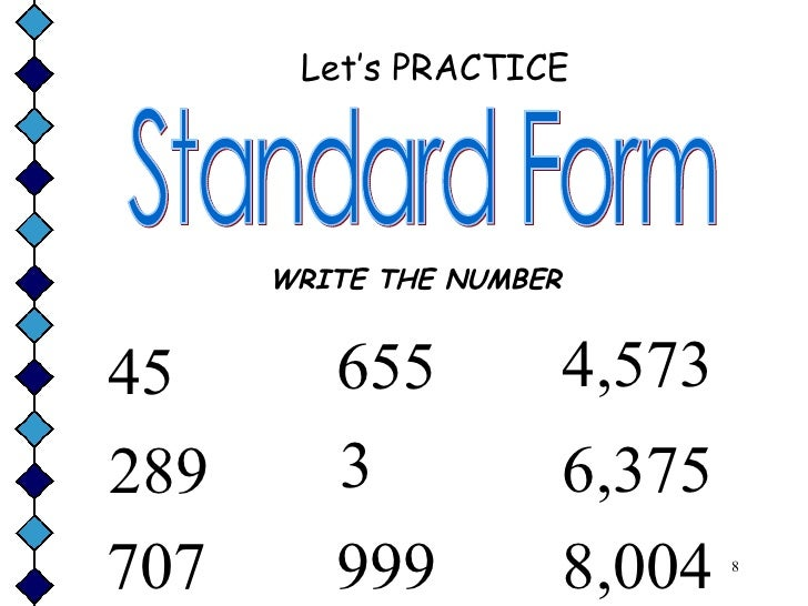standard form in numbers  Forms of the numbers