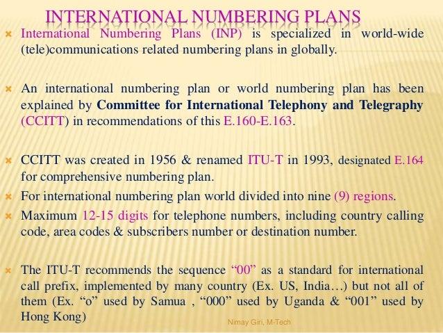 Numbering plan system