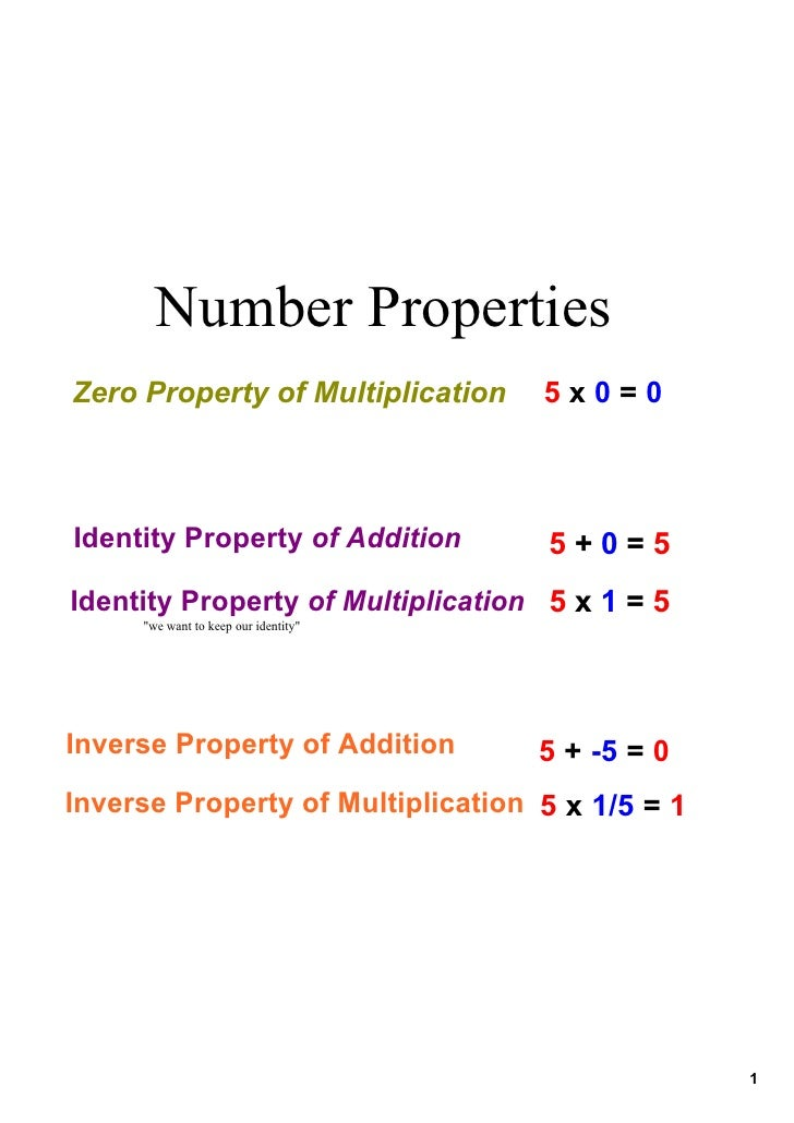 Number Properties Zero Property of Multiplication       5 x 0 = 0    Identity Property of Addition         5 + 0 = 5 Ident...