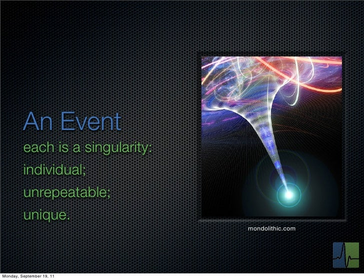 An Event         each is a singularity:         individual;         unrepeatable;         unique.                         ...