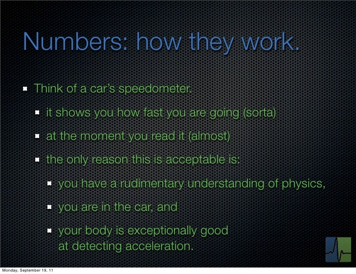 Numbers: how they work.              Think of a car's speedometer.                    it shows you how fast you are going ...