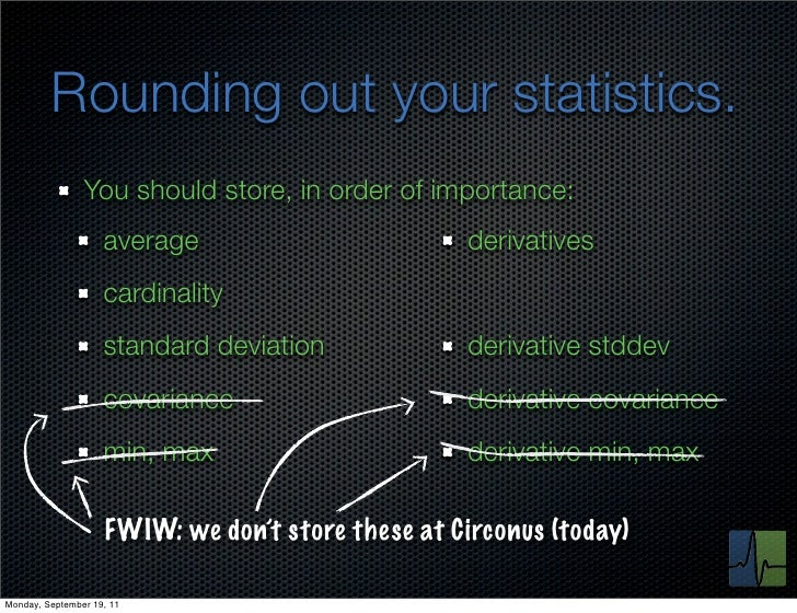 Rounding out your statistics.                You should store, in order of importance:                    average         ...