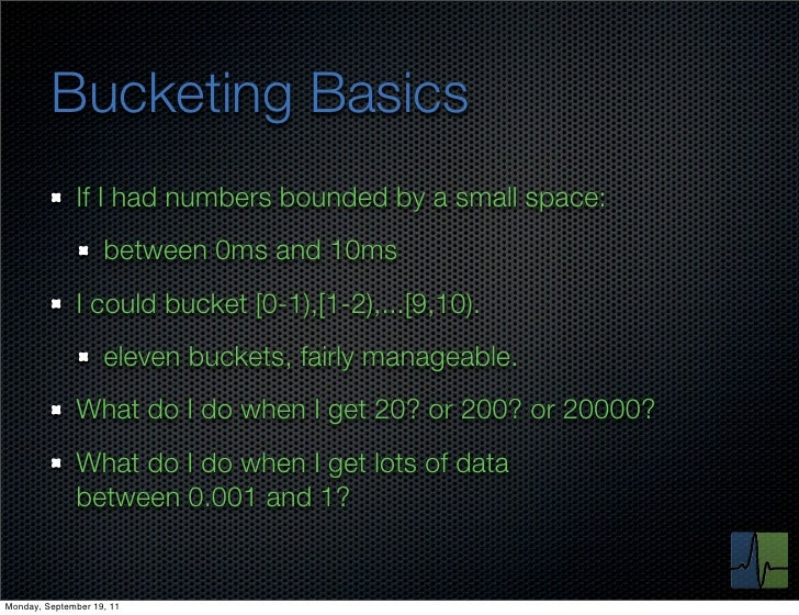 Bucketing Basics              If I had numbers bounded by a small space:                    between 0ms and 10ms          ...