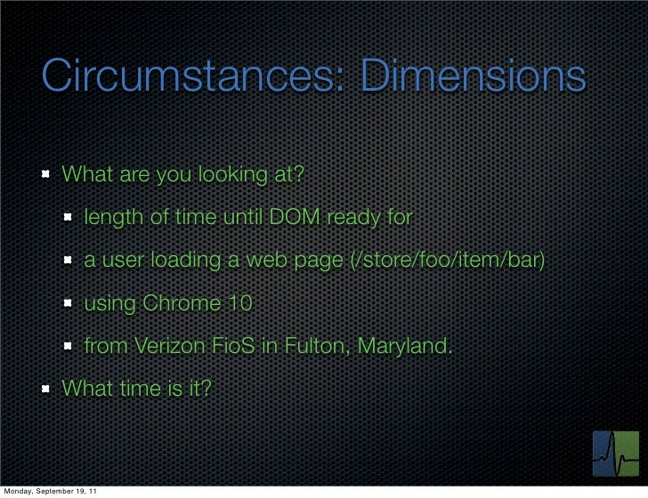 Circumstances: Dimensions              What are you looking at?                    length of time until DOM ready for     ...