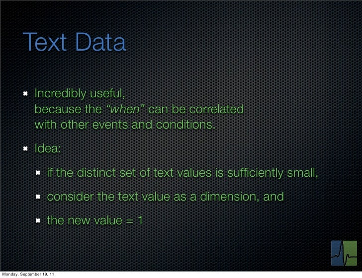 """Text Data              Incredibly useful,              because the """"when"""" can be correlated              with other events..."""