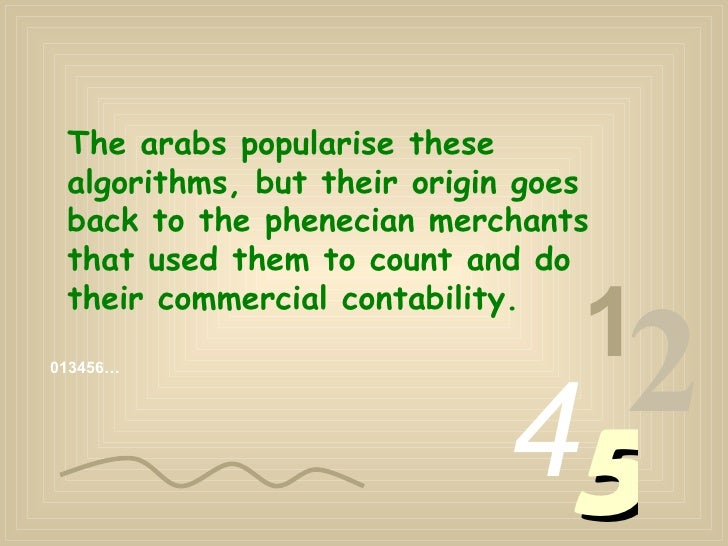 013456… 1 2 4 5 The arabs popularise these algorithms, but their origin goes back to the phenecian merchants that used the...