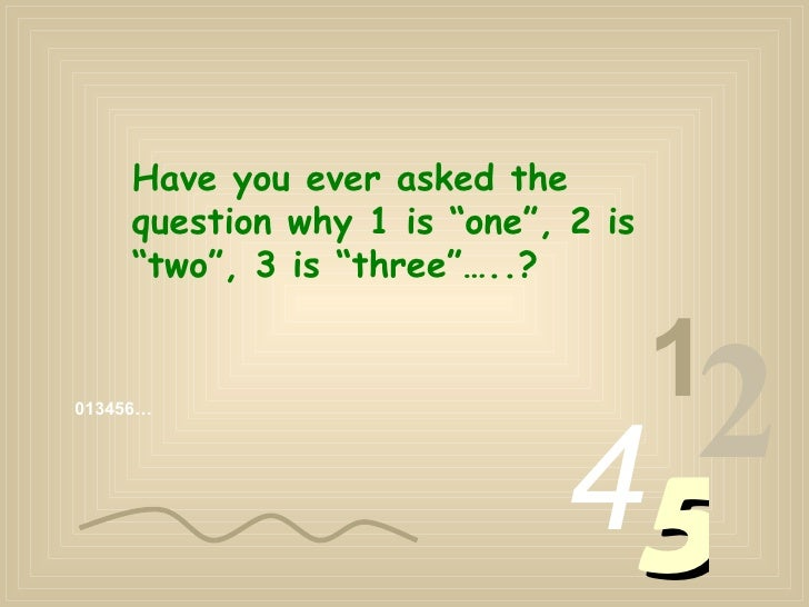 """013456… 1 2 4 5 Have you ever asked the question why 1 is """"one"""", 2 is """"two"""", 3 is """"three""""…..?"""